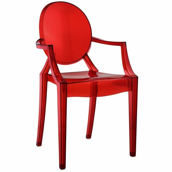 Red acrylic resin armchair