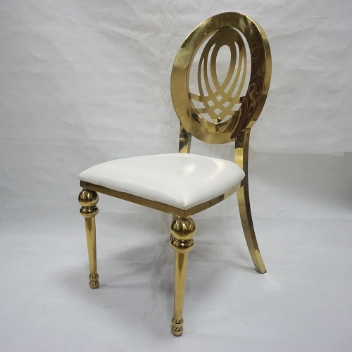 Round Back Gold Stainless Chair