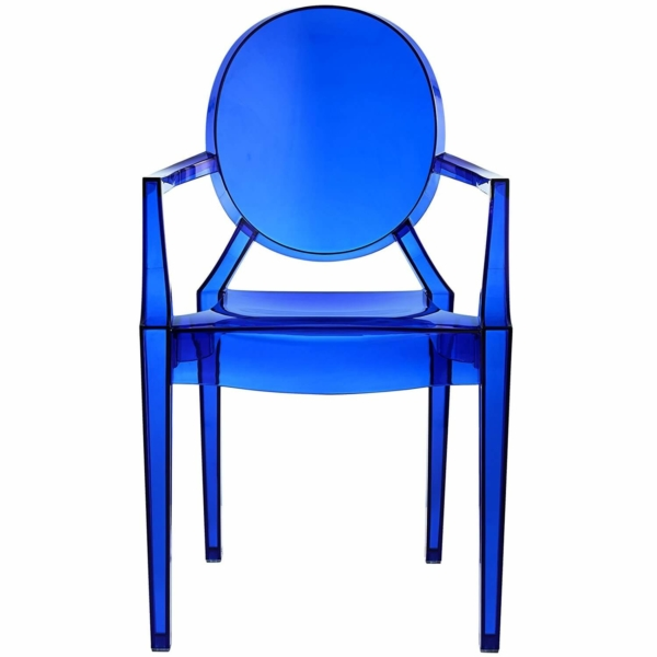 blue acrylic resin armchair